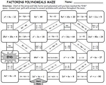 factoring polynomials maze activity by manipulating math minds tpt. Black Bedroom Furniture Sets. Home Design Ideas