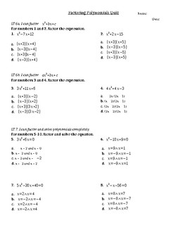 Factoring Polynomials Multiple Choice Quiz