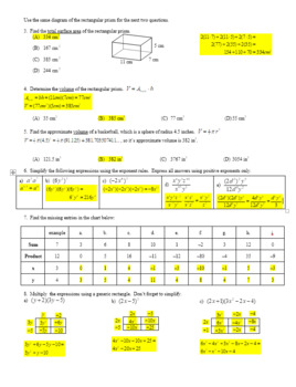 Factoring Polynomials Part 1 for Algebra Spring 2013 with Answer Key (Editable)