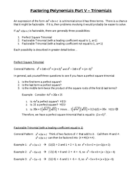 Factoring Polynomials Part V  Trinomials for Busy Teachers