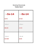 """Factoring Polynomials """"Perfect Match"""" (Valentine's Day Activity)"""
