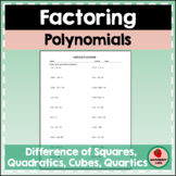 Factoring Polynomials Practice Review Worksheet Test Prep