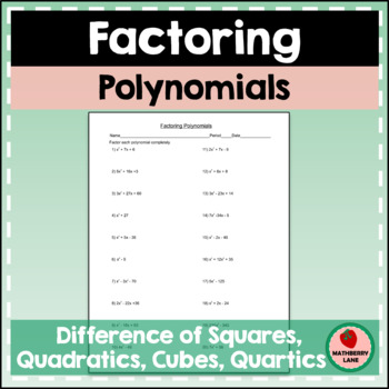 Factoring Polynomials Practice Review Worksheet Test Prep By