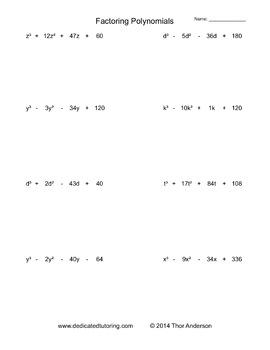 Factoring Polynomials Practice Worksheet Generator