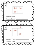 Factoring Polynomials - Punnett Squares Puzzle Task Cards