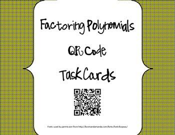 Factoring Polynomials QR Code Task Cards
