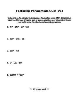 Factoring Polynomials Quiz (Version 1)