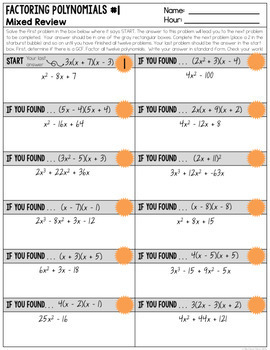 Factoring Polynomials - Guided Notes & Scavenger Hunts