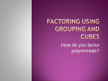 Factoring Polynomials Short Powerpoint