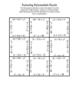 factoring polynomials square puzzle by jaquelyn wolford teachers pay teachers. Black Bedroom Furniture Sets. Home Design Ideas