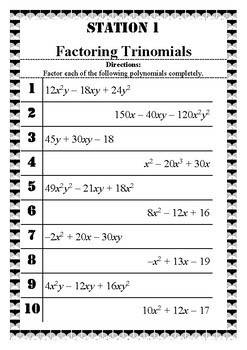Factoring Polynomials Stations Practice and Review Activity