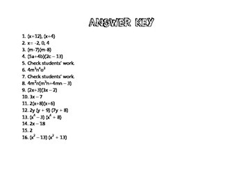 Factoring Polynomials Task Cards (with answer key!)