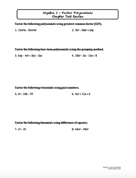 Factor Polynomials Test