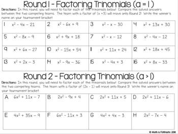 Factoring Polynomials Tournament Challenge