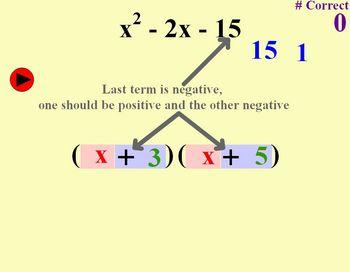 Factoring Polynomials (Trinomials - Coeff of 1 - Indiv Practice)