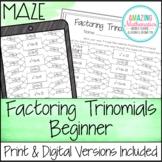 Factoring Polynomials (Trinomials) Worksheet - Beginner Maze Activity