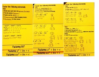 Factoring Polynomials Using GCF & Trinomials FOLDABLE & INB Matching Activity