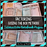 Factoring Polynomials Using the Box Method Interactive Notebook Page