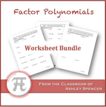 Factor Polynomials Worksheet Bundle