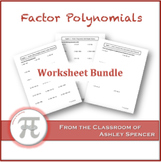 Factor Polynomials Worksheet Bundle