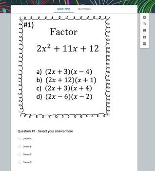 Factoring Polynomials   ax^2 +bx + c   (Google Form, Video Lesson & Notes!)