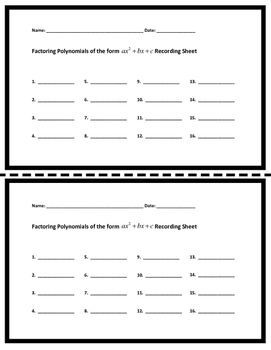 Factoring Polynomials ax^2+bx+c ALGEBRA 16 Task Cards with QR codes