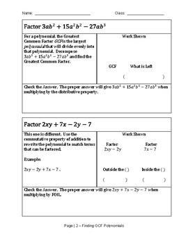 Factoring Polynomials by finding the Greatest Common Factor Scaffold Notes
