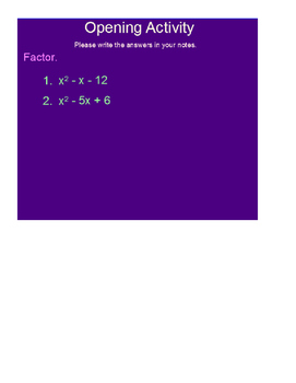 Factoring Polynomials in the form ax2 + bx + c SmartBoard Lesson