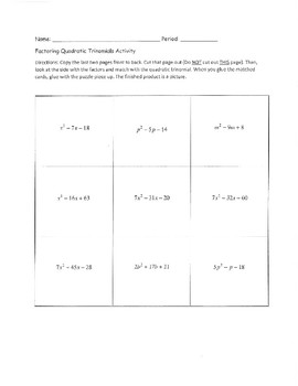 Factoring Polynomials when a = 1 and a > 1 Puzzle Matching Activity