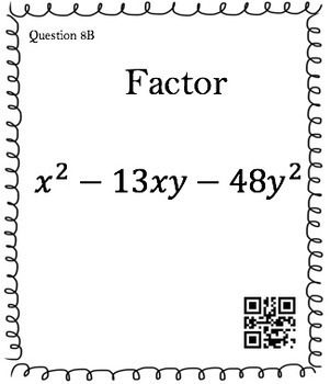 Factoring Polynomials x^2 +bx - c (30 Task Cards  3 different difficulty levels)