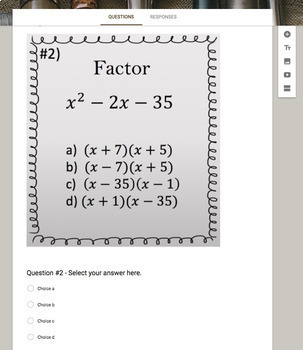 Factoring Polynomials   x^2 +bx - c   (Google Form, Video Lesson & Notes!)