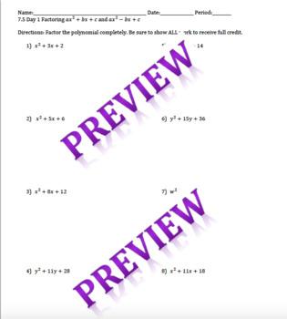 Factoring Polynomials x^2+bx+c and x^2-bx+c worksheet