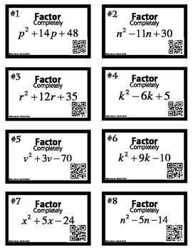 Factoring Polynomials x^2+bx+c ALGEBRA 16 Task Cards with QR codes