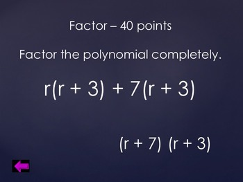 Factoring Polynomials PowerPoint Review Game