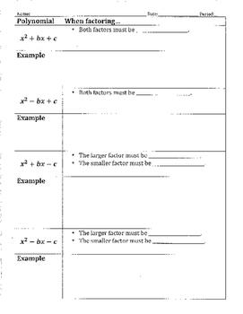 Factoring Poylnomials when a is 1 Notes Sheet