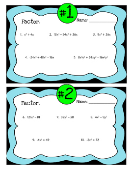 Factoring Practice Perfects Activity