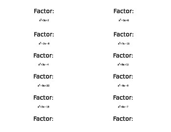 Factoring Practice Problems - Activity Cards