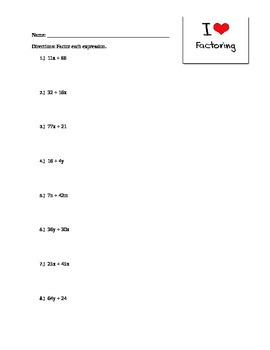 factoring practice worksheet - Factoring Practice Worksheet