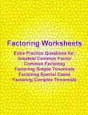 Factoring Practice Worksheets