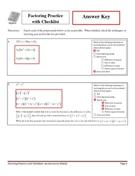 Factoring Practice with Checklists