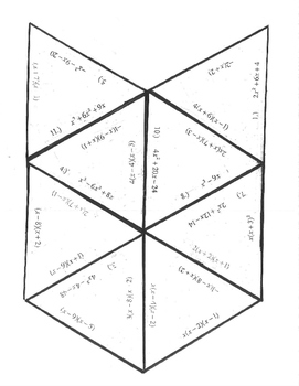 Factoring Puzzle GCF quadratic trinomial