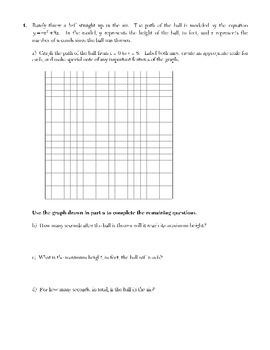 Factoring, Quadratic Equations, Graphing Parabolas & Basic Quadratic Apps