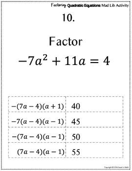 Factoring Quadratic Equations Mad Lib Activity