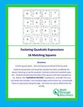 Match the Squares Puzzle - Factoring Quadratic Expressions - 16 cards