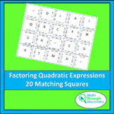 Match the Squares Puzzle - Factoring Quadratic Expressions - 20 Cards