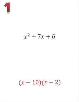 Factoring Quadratic Equations Scavenger Hunt Activity