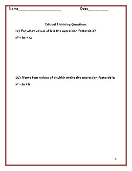 Quadratic Equations-Factoring Worksheet