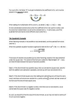 Factoring Quadratic Equations and the Quadratic Formula