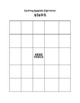Factoring Quadratic Expressions Bingo