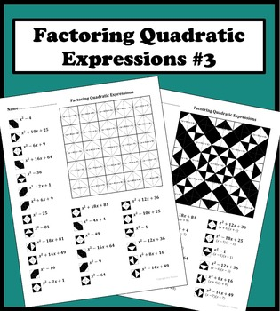 Factoring quadratic expressions worksheet answers aric thomas